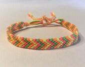 Neon Pink, Green, Yellow, and Orange Chevron - Friendship Bracelet
