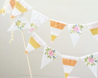 """Vintage Fabric Cake Bunting- """"You are my sunshine"""""""