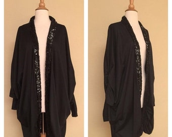 ON SALE Vintage 70s 80s Black Draped Costume Style Jacket with Sequin Trim Disco Drag Goth Glam Coat Cape
