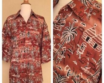 ON SALE Vintage Mens Tiki Button Up Tropical Hawaiian 60s 70s Polynesian Print Size Large XL Xxl