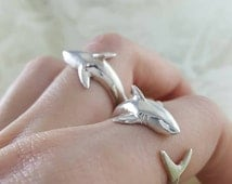 Shark Ring in Sterling Silver, heavy handmade shark lover ring, sterling silver shark ring, shark week jewelry, jaws ring, wrap around shark