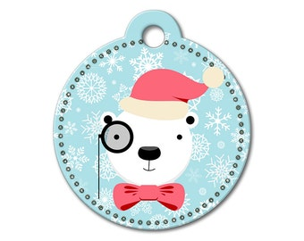 SALE Christmas Holiday Polar Bear Pet Tag - Dog Tags for Dogs - Custom Dog Tag for Pets, Personalized Cute Dog ID Tag, Sizes Small & Large