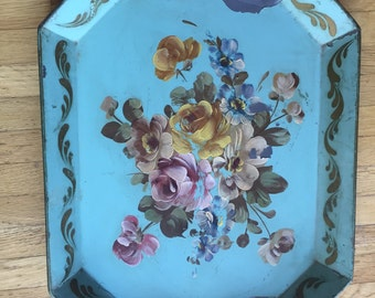 Vintage  Turquoise Tole Tray
