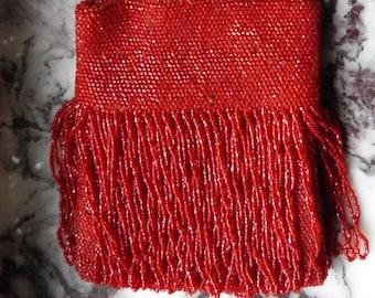 Antique Lipstick Red Glass Beaded Bag, Purse
