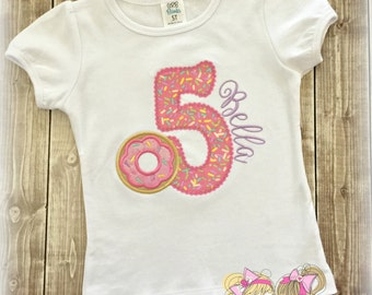Donut Birthday Shirt- Sprinkles Number- Pink Donut Sprinkles