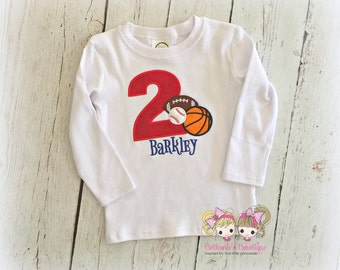 Sports balls birthday shirt for boys - sports themed birthday shirt - personalized embroidered boys sports birthday shirt - sports birthday