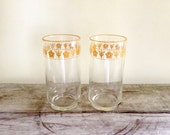 Butterfly Gold Drinking Glasses - Set of Two Libbey Pyrex Drink Glasses - Correlle Butterfly