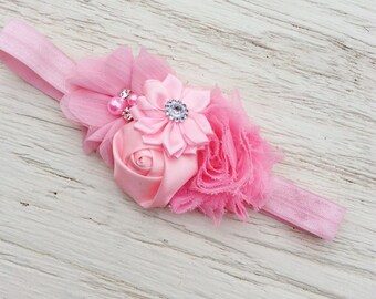 pink baby headband girl headband toddler headband  Matilda Jane fabric flower rolled rosette chiffon flower persnickety m2m