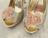 Shoe Clips, Bridal Shoe Clips, Wedding Shoe CLips, Champagne Shoe Clips, Floral Clips for Wedding Shoes, Bridal Shoes, Pumps, Heels