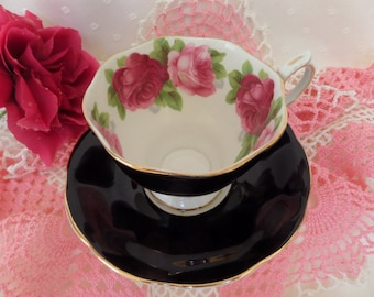 Gorgeous Royal Albert Tea Cup -- Black With Roses -- Old English Rose -- England Cup and Saucer