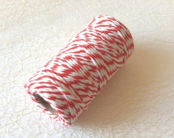 Bakers twine / Red and white cotton cord / stripes cord / cord for gift wrapping / 70 yards  /  1 spool