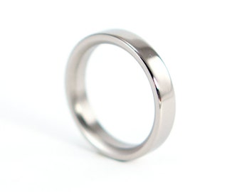 Women's polished titanium ring. Classic and comfortable flat engagement ring. Valentine's Day (00004_4N)