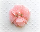"Pink Chiffon Flowers. Pearl and Rhinestone Chiffon Flowers. 2"". QTY: 1 Flower"