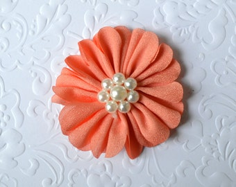 "Coral Fabric Flower, Pearl Center. 2.5"". 1 Flower ~Annalea Collection"