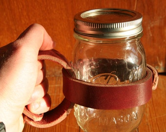 Mason Jar Leather Mug Handle