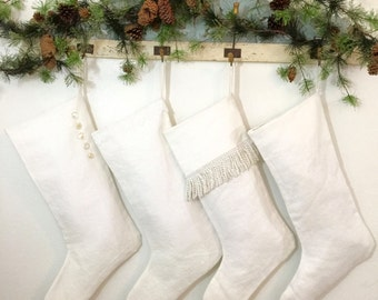 Extra Large Simple White Linen Christmas Stocking