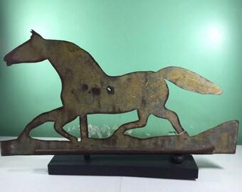 Antique Copper Weathervane: Horse and Sulky- Folk Art Vintage Victorian Primitive Racer Farm Fairgrounds Race Horse Race Trotter Stable Barn