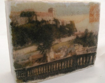 Wish You Were Here: Encaustic painting upon re-purposed wood, post card image