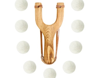Wooden Slingshot with 12 White Felt Ball Ammo - hunting slingshot, wooden slingshot, best slingshot, toy slingshot, wooden toy, camping gear