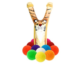 Wooden Tiger Slingshot with 12 Multicolored Felt Ball Ammo - hunting slingshot, wooden slingshot, best slingshot, toy slingshot, wooden toy
