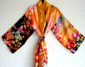 Kimono Style Robe Orange Yellow Pink Violet Green Gold Flowers Rozes Wrap Dress Beach