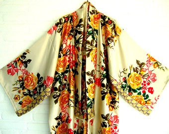 Kimono Creme  Pink yellow rozes  Elegant  Chic Long Wrap Dress Beach Kimono Lingerie kimono
