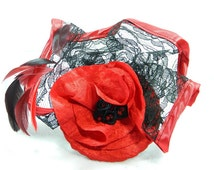 red black Fascinator Headpiece Headdress Kopfschmuck Minihat Gothic Burlesque 50s 50er Pinup Hat bridal formal gown prom