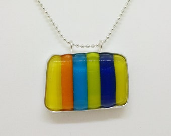 Primary Stripes Fused Glass & Sterling Silver Pendant