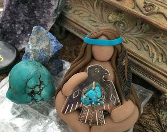 Turquoise Thunderbird Goddess figurine ((MADE TO ORDER)) Native goddess, dark skinned goddess, earthy goddess