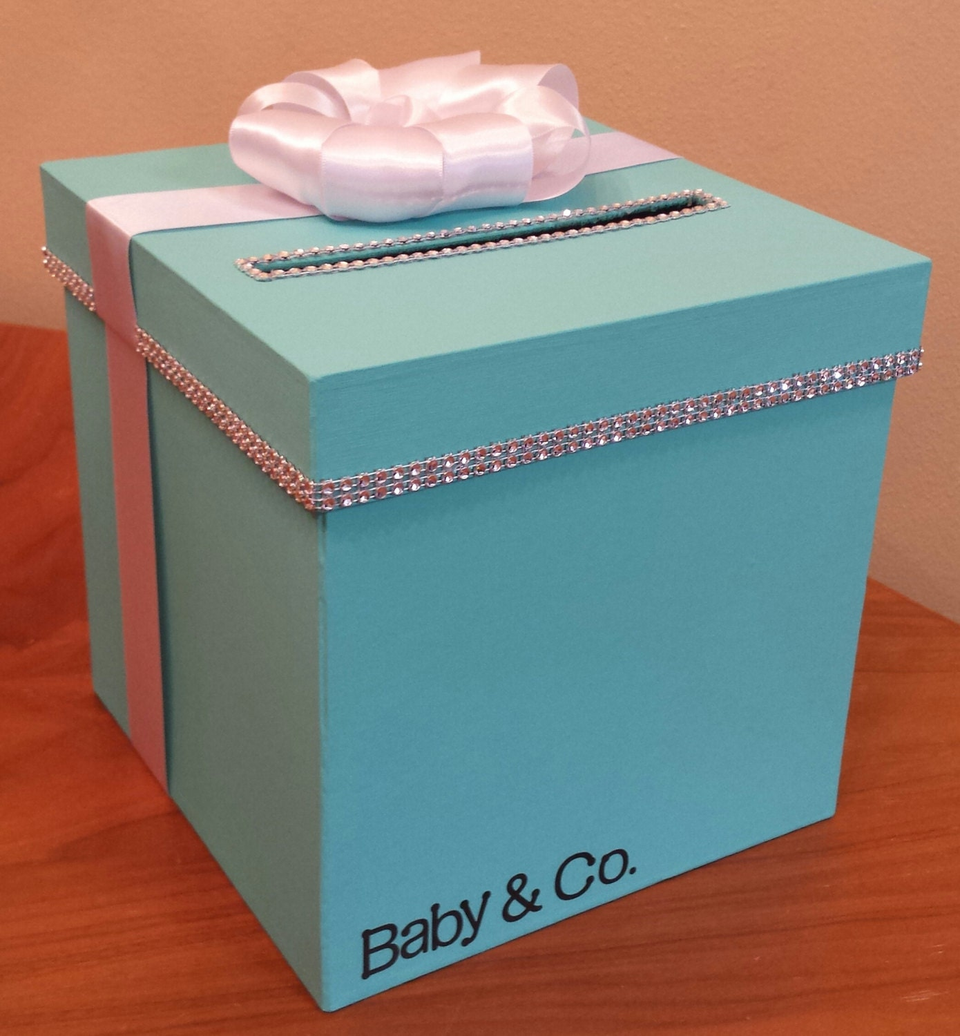 Wedding Shower Gift Card Box : Card box with personalization for a wedding baby shower bridal