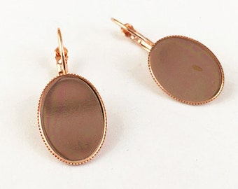 French Earwires -10pcs Rose Gold Brass 13x18mm Round Cameo Cabochon Base Setting Ear Hooks/Clips K205-5