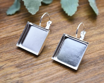 6pcs 16x16mm Silver Plated Brass square Cameo Base French Earwire Ear Hook K208-5