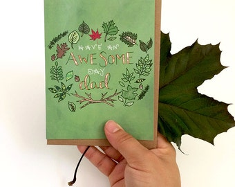 Dad card - Father's Day Card - Awesome Day Dad - Greeting Cards, Holiday Cards, Leaves, Leaf card