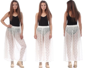 Palazzo Pants LACE 70s Sheer Bell Flare Pants Pleated High Waisted Cream White Wide Leg 1970s Boho Vintage Bohemian Trousers Medium