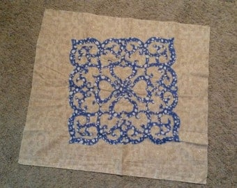 Blue and gold attice work applique top