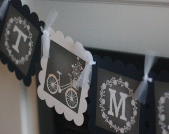 """Rustic Wedding Shower Bicycle Flowers Arrow Chalkboard Bridal Wedding Shower Navy & White """"Just Married"""" Banner - Party Pack Specials"""