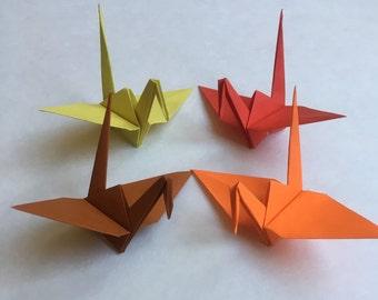 100 Medium Size Fall Origami Cranes Japanese Paper Cranes