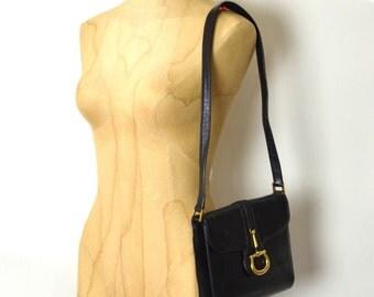 Vintage  Equestrian Leather Stirrup Bag - Navy & Gold - Horsebit