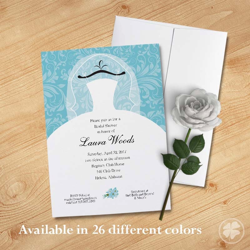 Wedding dress bridal shower invitation wedding shower for Wedding dress bridal shower invitations