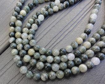 6mm Green Line Jasper Beads Round Smooth Full Strand 16 inch