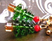 Red and Green Swarovski Crystal Christmas Trees