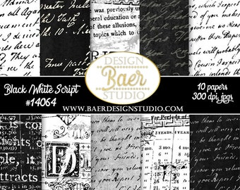 DIGITAL PAPER VINTAGE:Digital Paper Black and White, Black Script Digital Paper, Graduation Digital Paper, Script Digital Paper, #14064