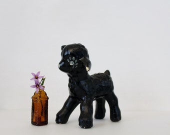 Vintage Ceramic Black Sheep Figurine - Baby Lamb Decor