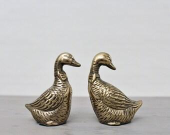 Vintage Brass Ducks Wearing a Bowtie - Brass Duck Figurines  - Brass Home Decor