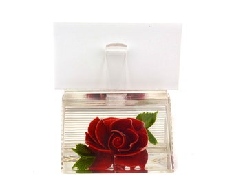 Vintage Bircraft Reverse Carved Lucite Letter Holder // 1960's Red Rose Flower Business Card Photo Display Stand Collectible Paperweight