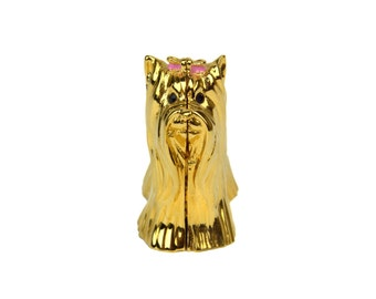 Estee Lauder Yorkie Dog 'Beautiful' Solid Perfume Compact // 1995 Goldtone Metal Yorkshire Terrier Figural Compact