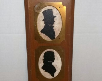 Vintage Silhouette Trio on Wood Panel Wall Hanging