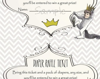 Where the Wild Things Are - Baby Shower Diaper Raffle Ticket
