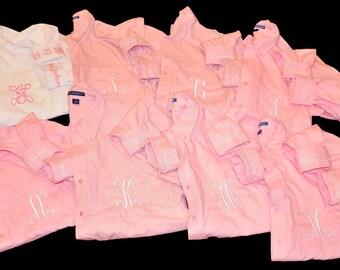 Bridal Party Shirts, 7 Bridesmaids Shirts, Getting Ready Shirts, Bride Shirt, Monogrammed Button Down Shirt, Wedding Day Shirts Personalized