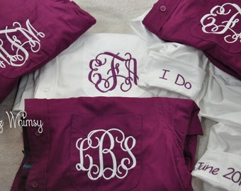 Bridal Party Shirts, Bride Shirt, Wedding Day Shirts, 10 Bridesmaid Shirts, Button Down Shirt, Monogrammed Bride Shirt, Getting Ready Shirt
